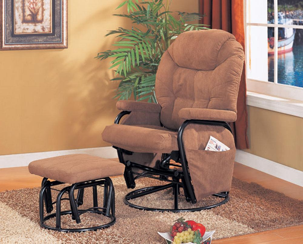 Brown microfiber swivel reclining glider with ottoman