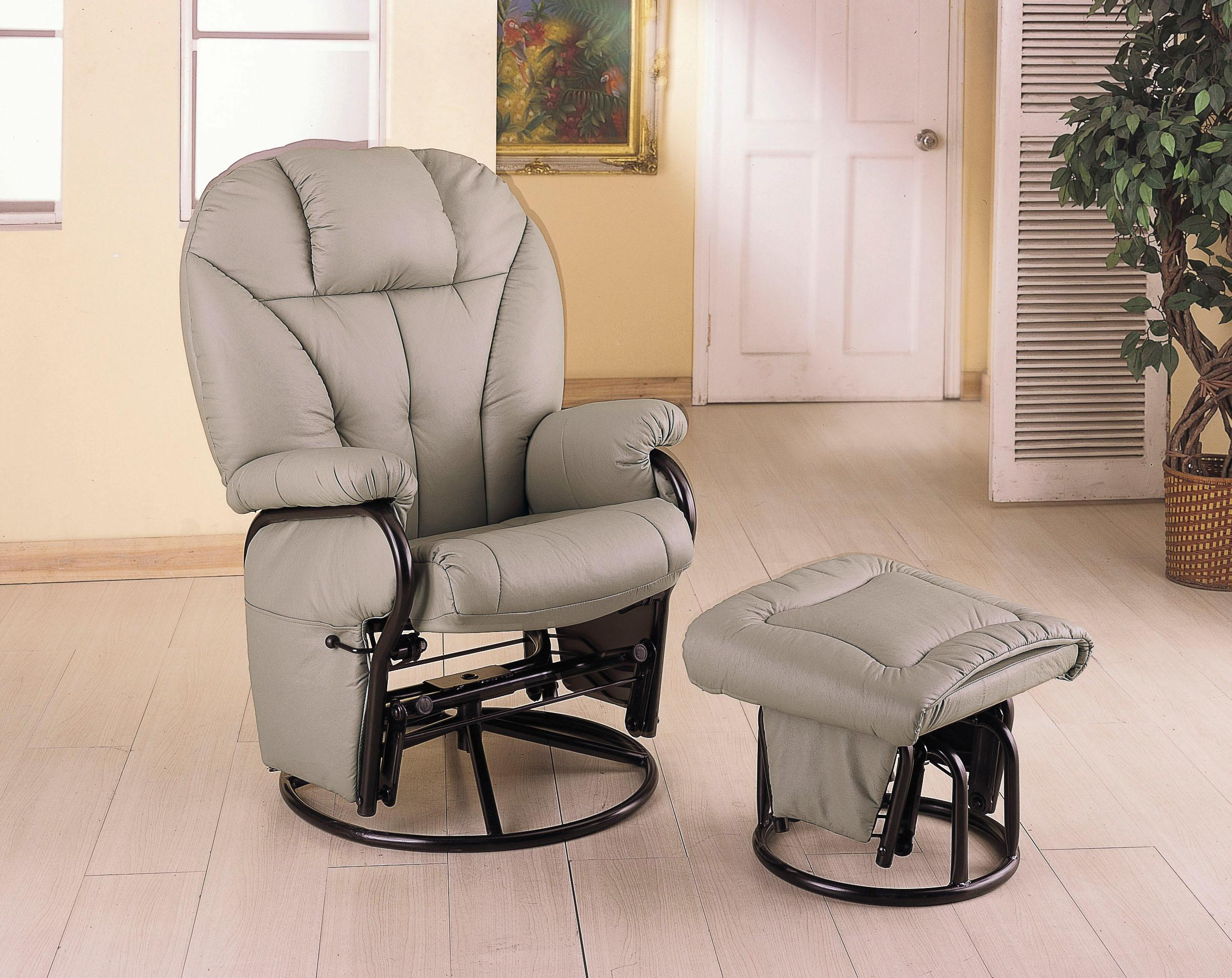 Taupe leatherette cushion swivel glider with matching ottoman