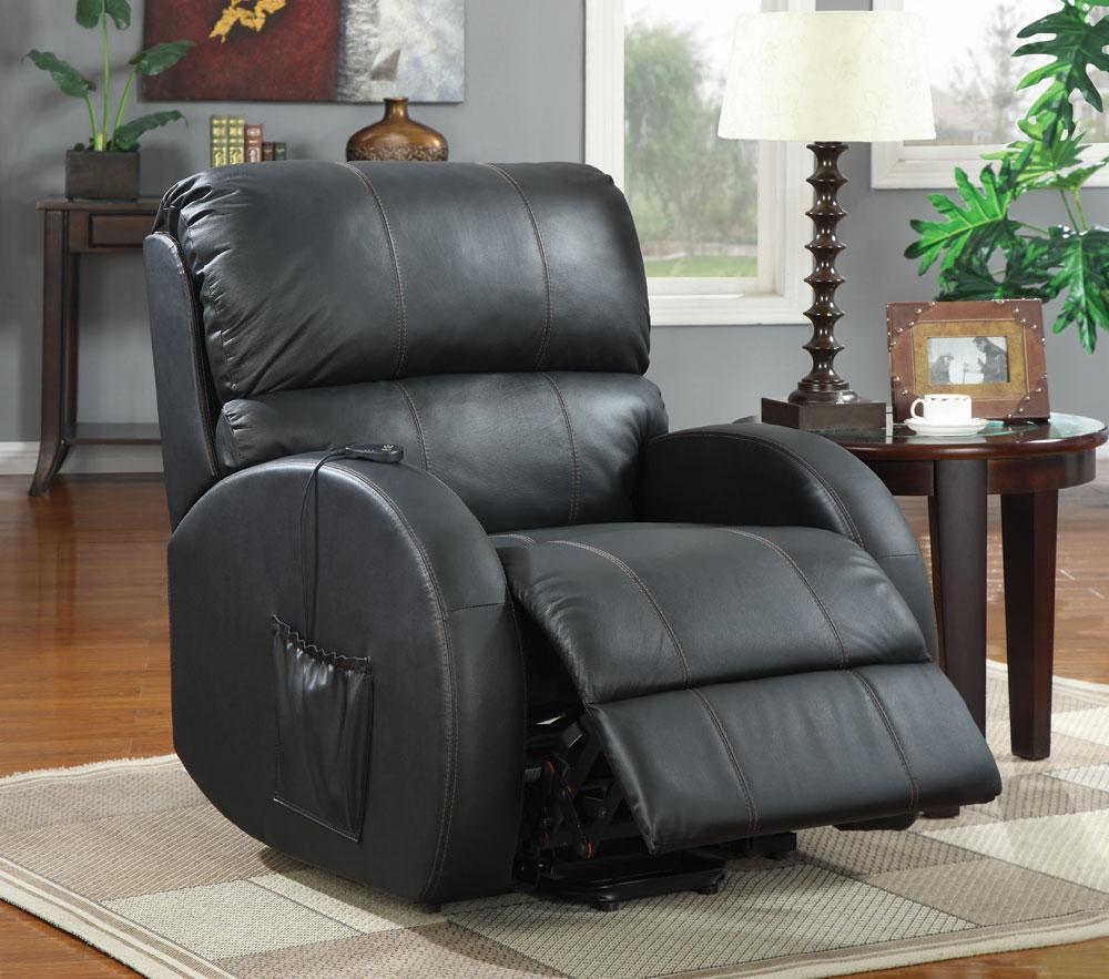 With this power lift chair, you can effortlessly sit up without straining your back or knees. Wrapped in a black top grain leather seating with durable vinyl back and sides