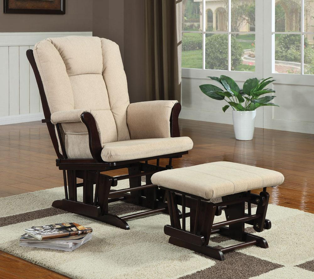 Glider wrapped in a beige microfiber with matching ottoman