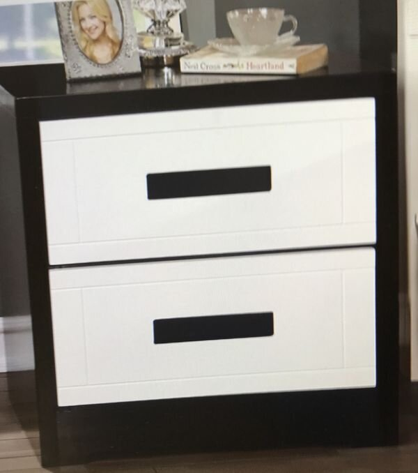 """ONE BLACK AND WHITE NIGHTSTAND$119 - Contemporary black and white nightstand ONLY ONEMeasures 24""""H 23.5""""W 15.75""""DNew in the boxSKU# FOACM7292N"""