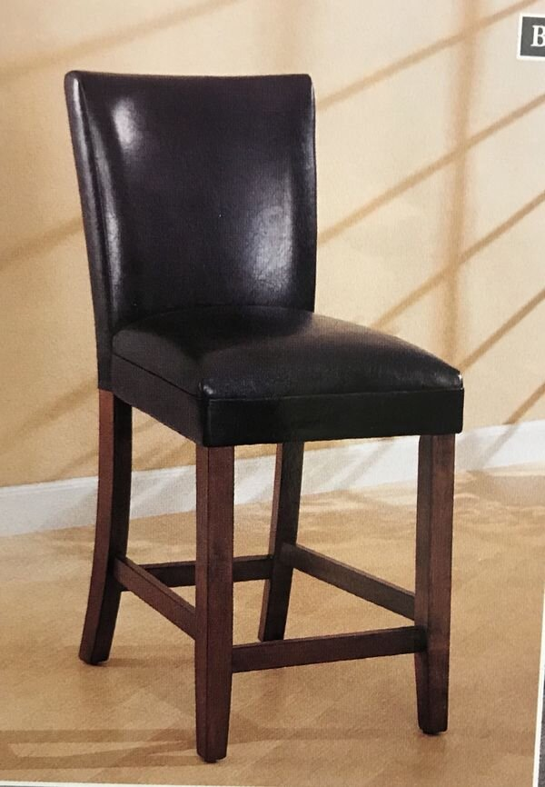 "2 BLACK PARSON CHAIRS -COUNTER HEIGHT - Liquidation Price- $1492 Black/cherry parson chairs. Counter height Brand new - still in the box30"" highCO100357"