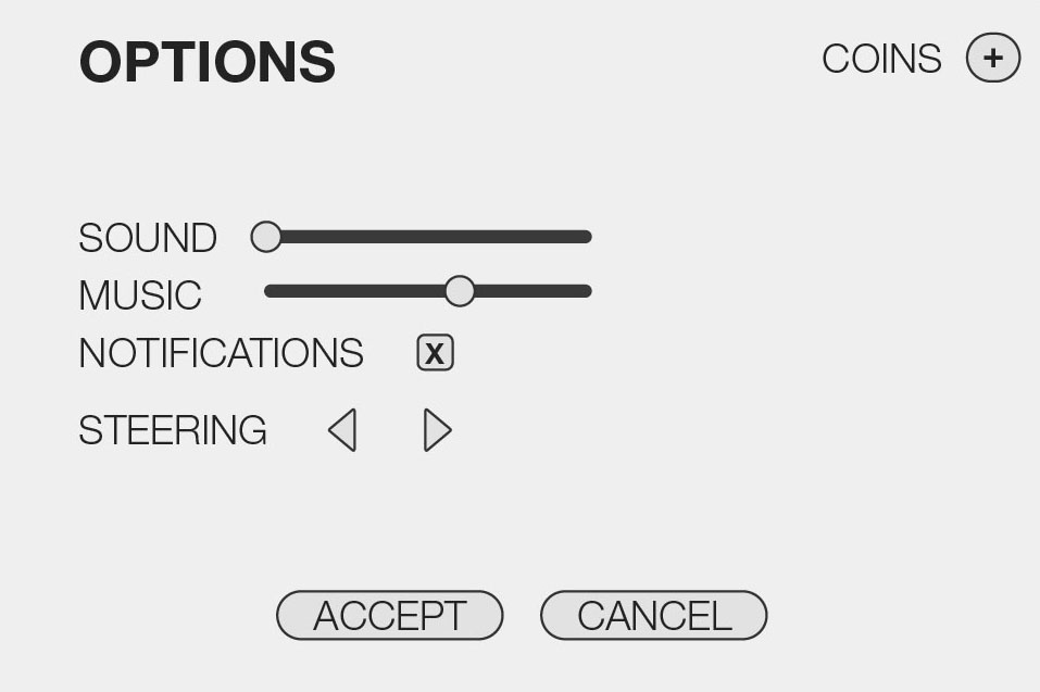 Basic Wireframe for the Options Screen