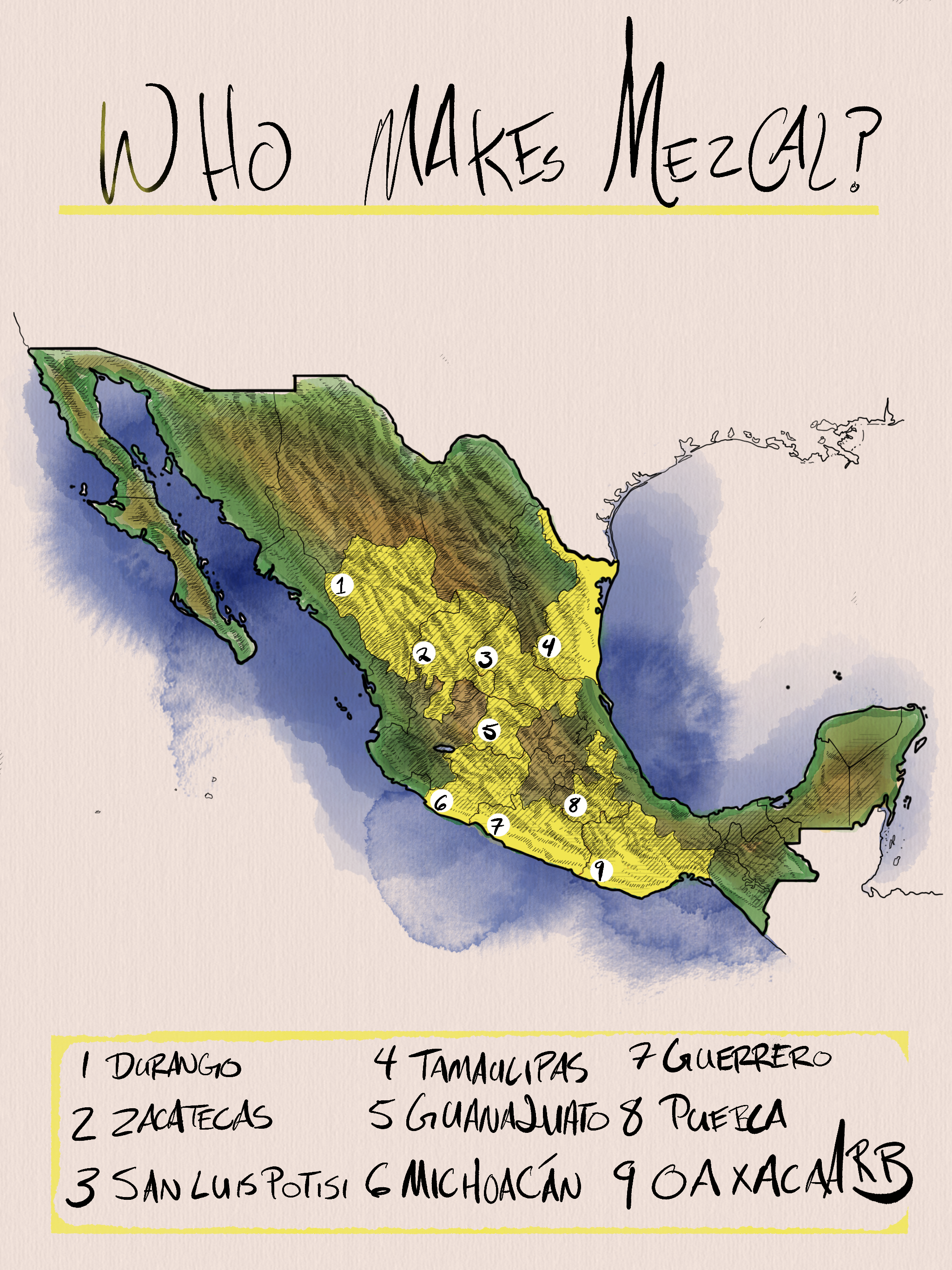 The nine Mexican States that make Mezcal.