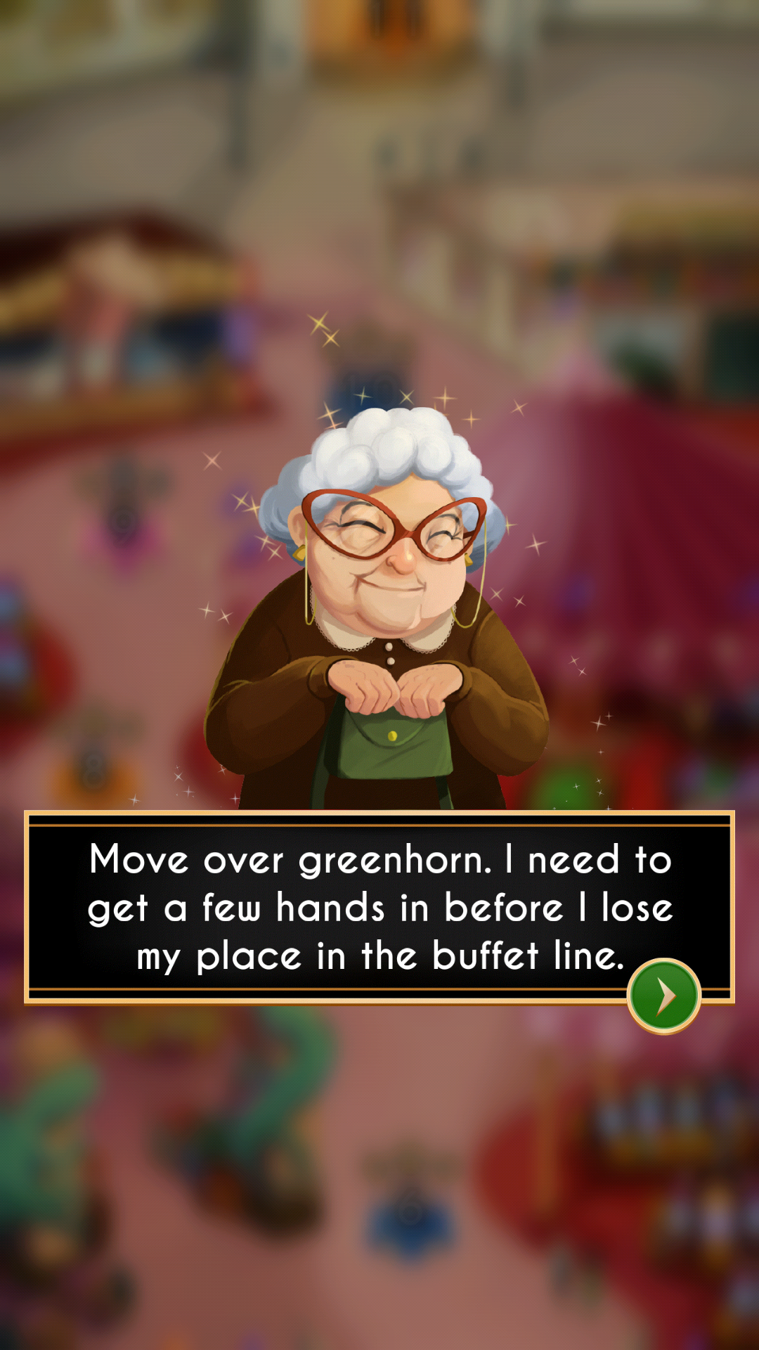 Example of a non-plot character dialogue screen. The design is simplified to downplay the importance of this character's dialogue to the plot, and no response option from the player is available. UI element, character art, and background by me.