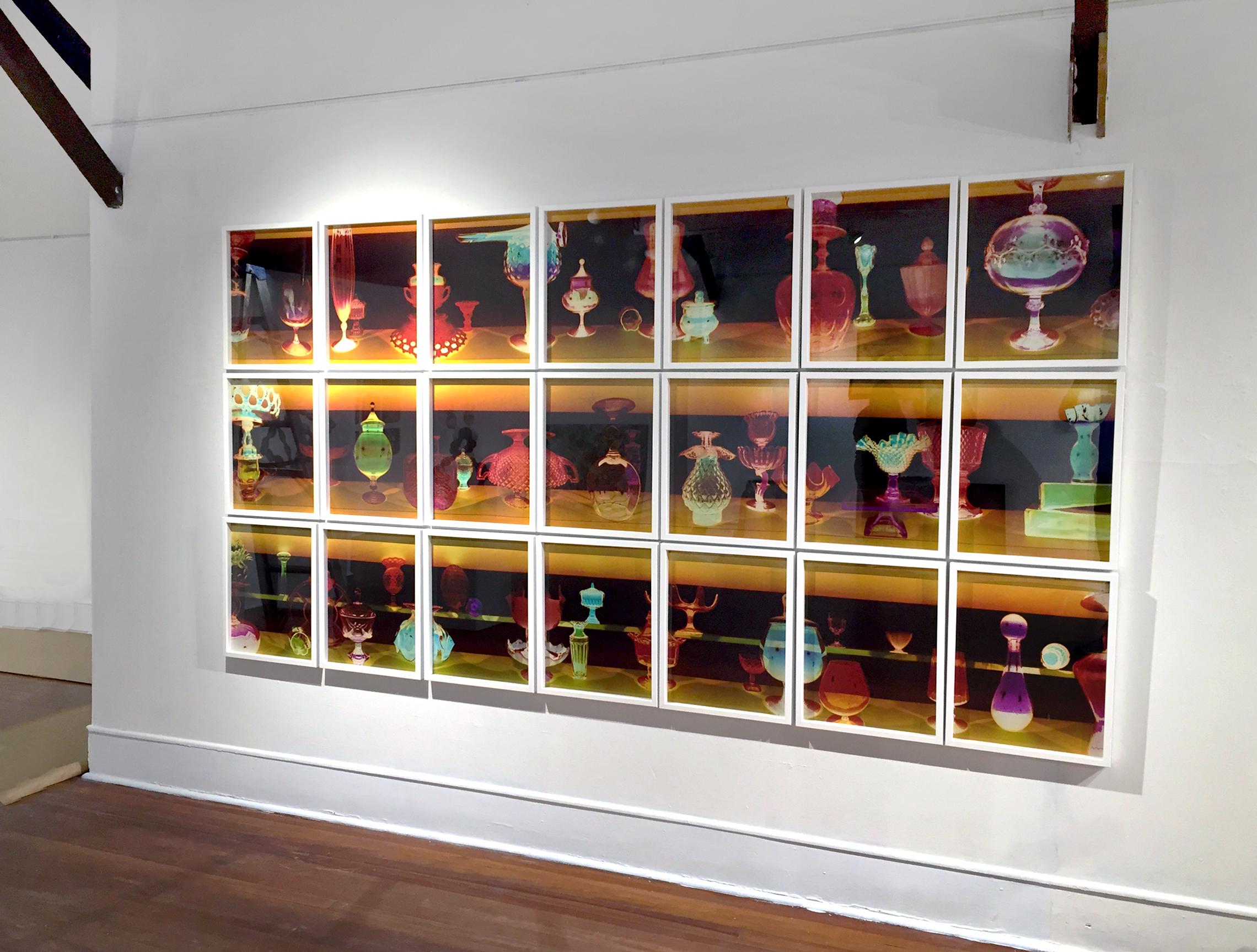 """Installation View: """"Ogetti di Vetro, Ambra"""" Silvermine Gallery, New Canaan, Connecticut 2015"""