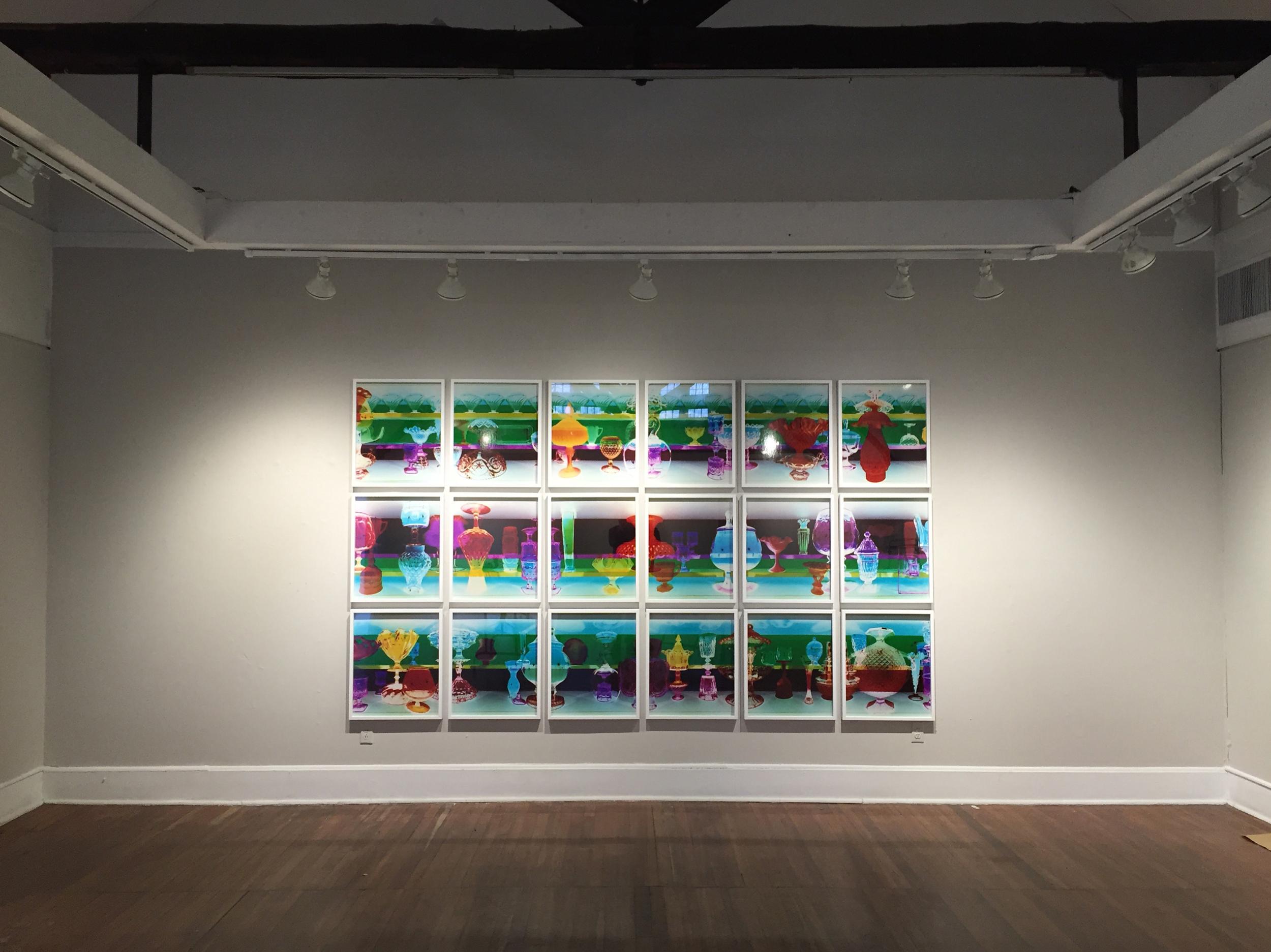 """""""Ogetti di Vetro, Smeraldo"""" Unique Pinhole Camera C-Prints 72""""h x 120""""w 2015"""