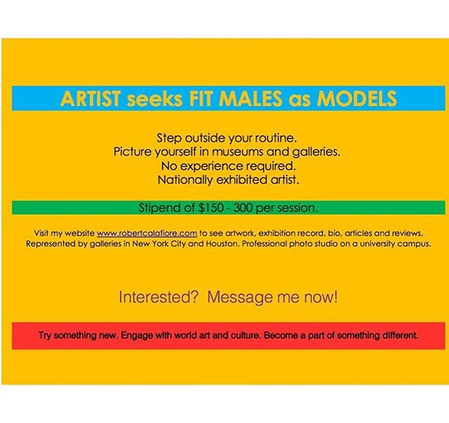 Artist seeks fit males as models. robertcalafiore.com Message now! Engage with the arts. #malemodel #malefitness #athletic #musclemen #ctmen #gayct #gayconnecticut