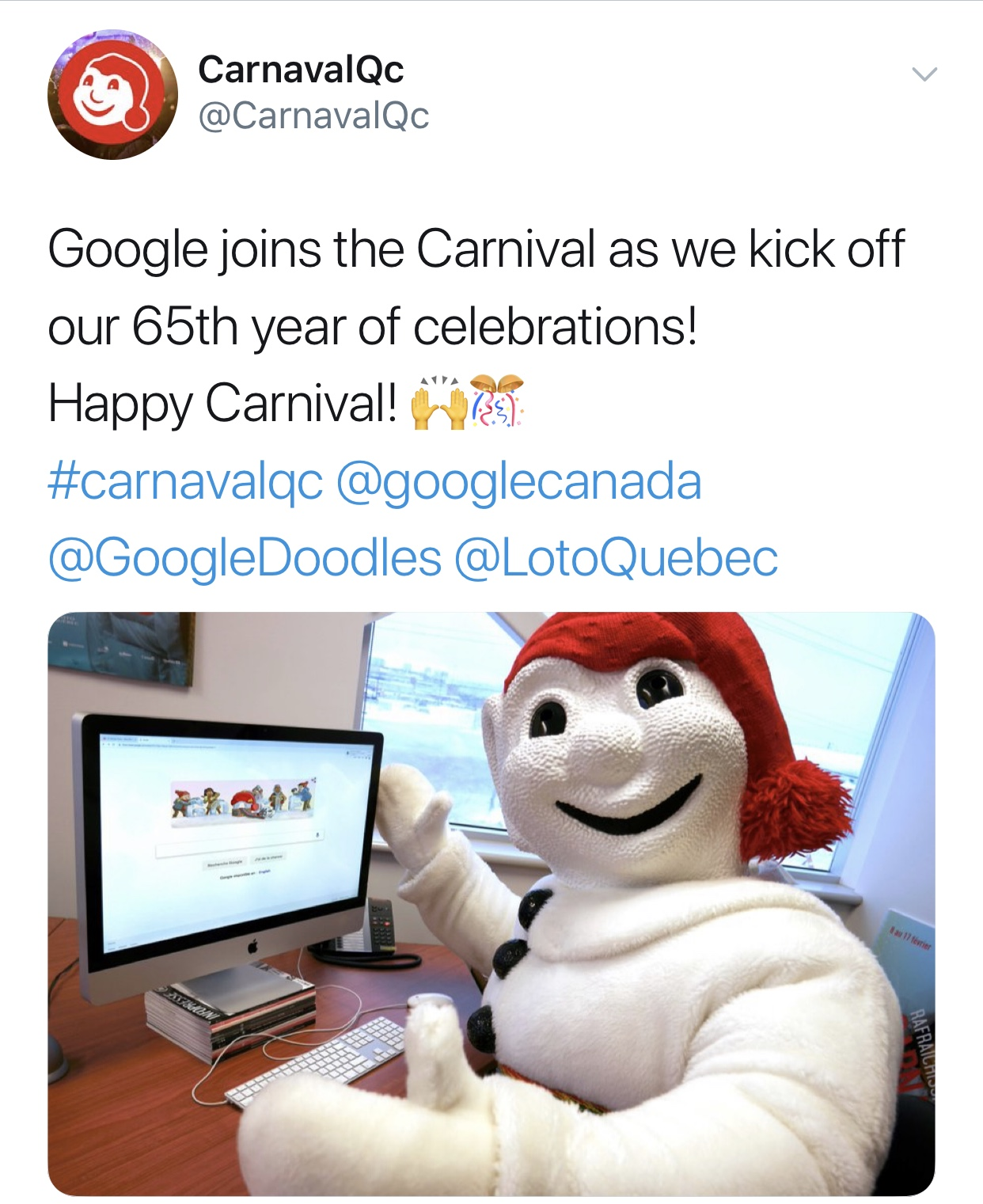 "Social Media post from the official mascot ""Bonhomme de Neige"""