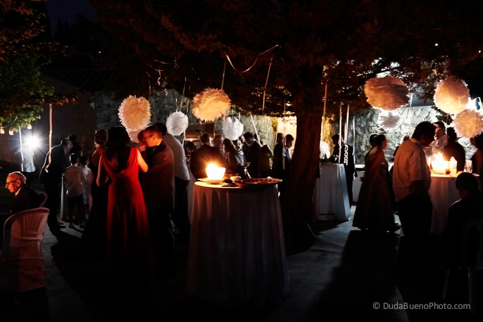 Fiesta de boda con velas