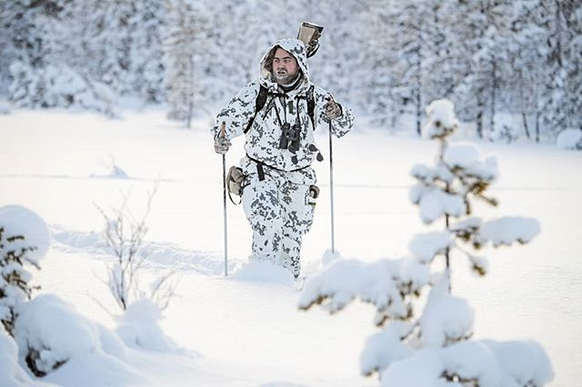 @alwayshunting.dk #lookingforbirds in the vast #wilderness of #lapland  #reportage for @jagtvildtogvaaben  Trip arranged by @nordguide.se  #capercaillie #skogsfugljakt #skiing #swedishlapland #sweden #sverige #icybeard #huntinglife #intotheunknown #intothewild #coldday #camo #nikond5 #nikon #itsinmynature #birdhunting #friluftsliv #thegreatwild #wildernessculture #wilderness #powdersnow #photojournalism #vildmarken #coldadventures