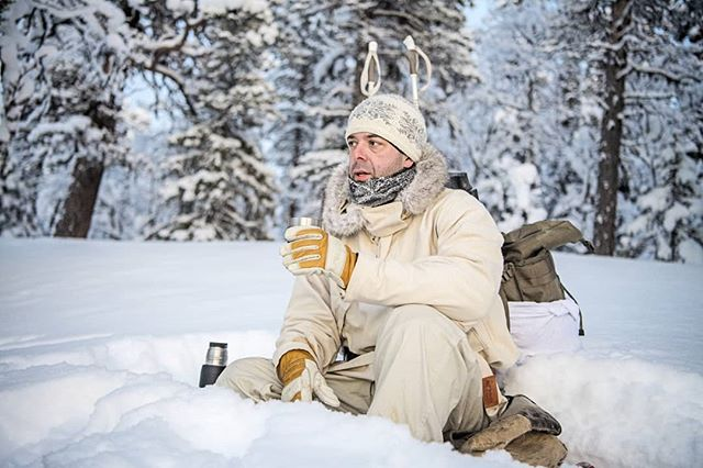 @simonstaffeldtschou having a #shortbreak from #hunting #capercaillie  The breaks are short when it is -30C. You get cold within 5-10 minutes and soon you feel more like #skiing than sitting still in the #snow #relaxing  #reportage for @jagtvildtogvaaben  Trip arranged by @nordguide.se  #photojournalism #huntinglife #itsinmynature #coldadventures #skogsfugljakt #birdhunting #swedishlapland #lapland #sverige #sweden #nikond5 #nikon #d5 #jaktbilder #jakt #jagt