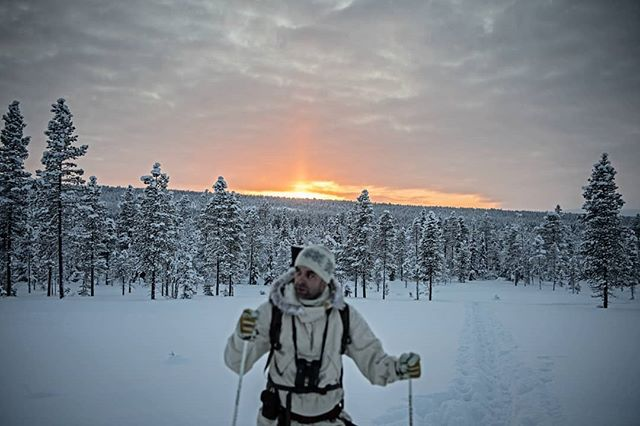 @simonstaffeldtschou heading home for the #cabin.  The days are short in #swedishlapland during the #winter. #hunting for #capercaillie is demanding in the cold, but also rewarding because you need to make an effort.  Final photo from the #reportage for @jagtvildtogvaaben  Trip arranged by @nordguide.se  #ourlapland #itsinmynature #intotheunknown #intothewild #jaktbilder #jakt #sweden #sverige #skogsfugljakt #tiur #photojournalism #nikon #nikond5 #lookingforbirds