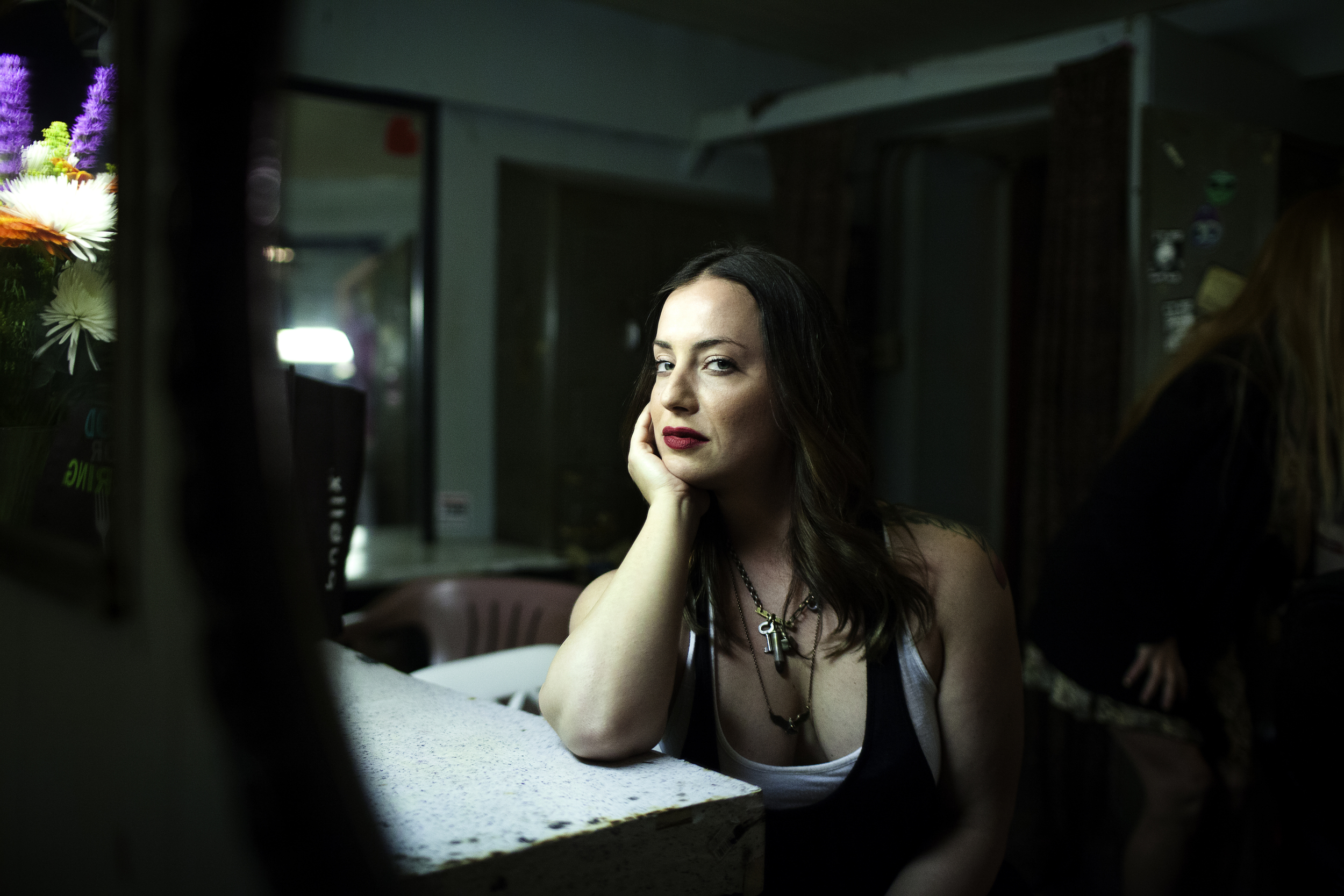Erin, backstage in the most sacred of spaces, the Clermont's dressing room. Photo by Artem Nazarov
