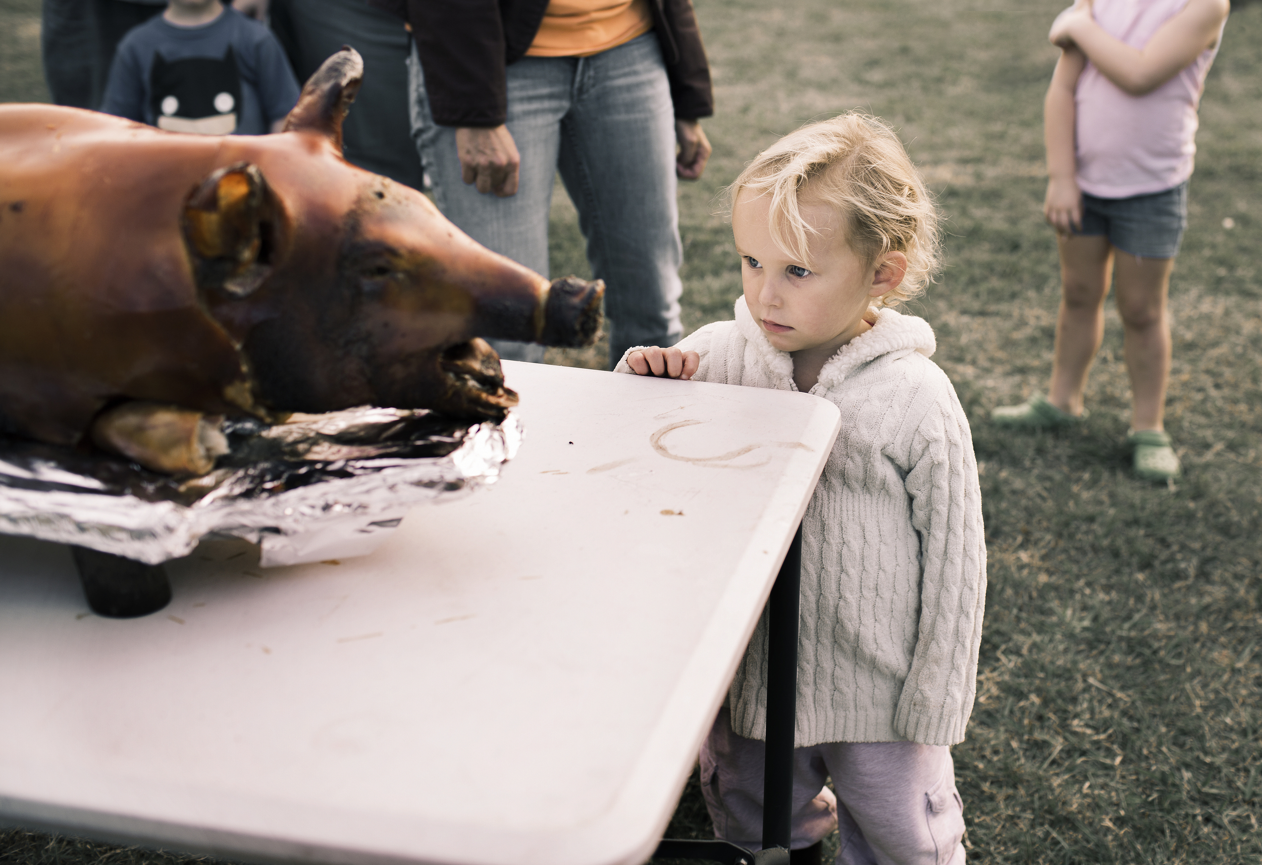 Girl confronting pig, Tamara Reynolds, Southern Route