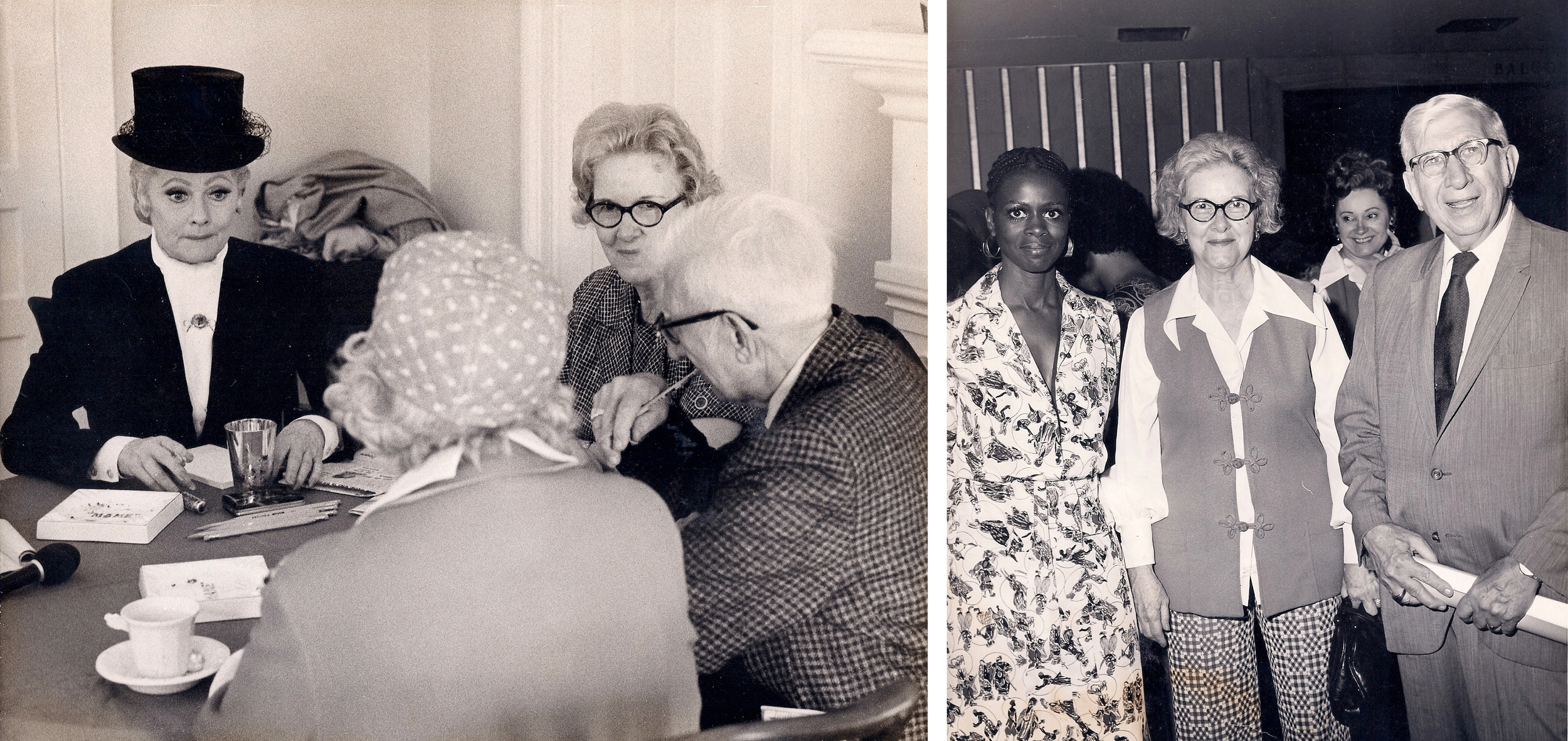 Left: Gammie and Sam with Lucille Ball. Right: Gammie and Sam with Cicely Tyson