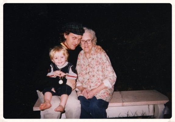 Robert Burke Warren, his son Jack, and Jack's great-grandmother Gammie in 1999, a year before she died at age 94.