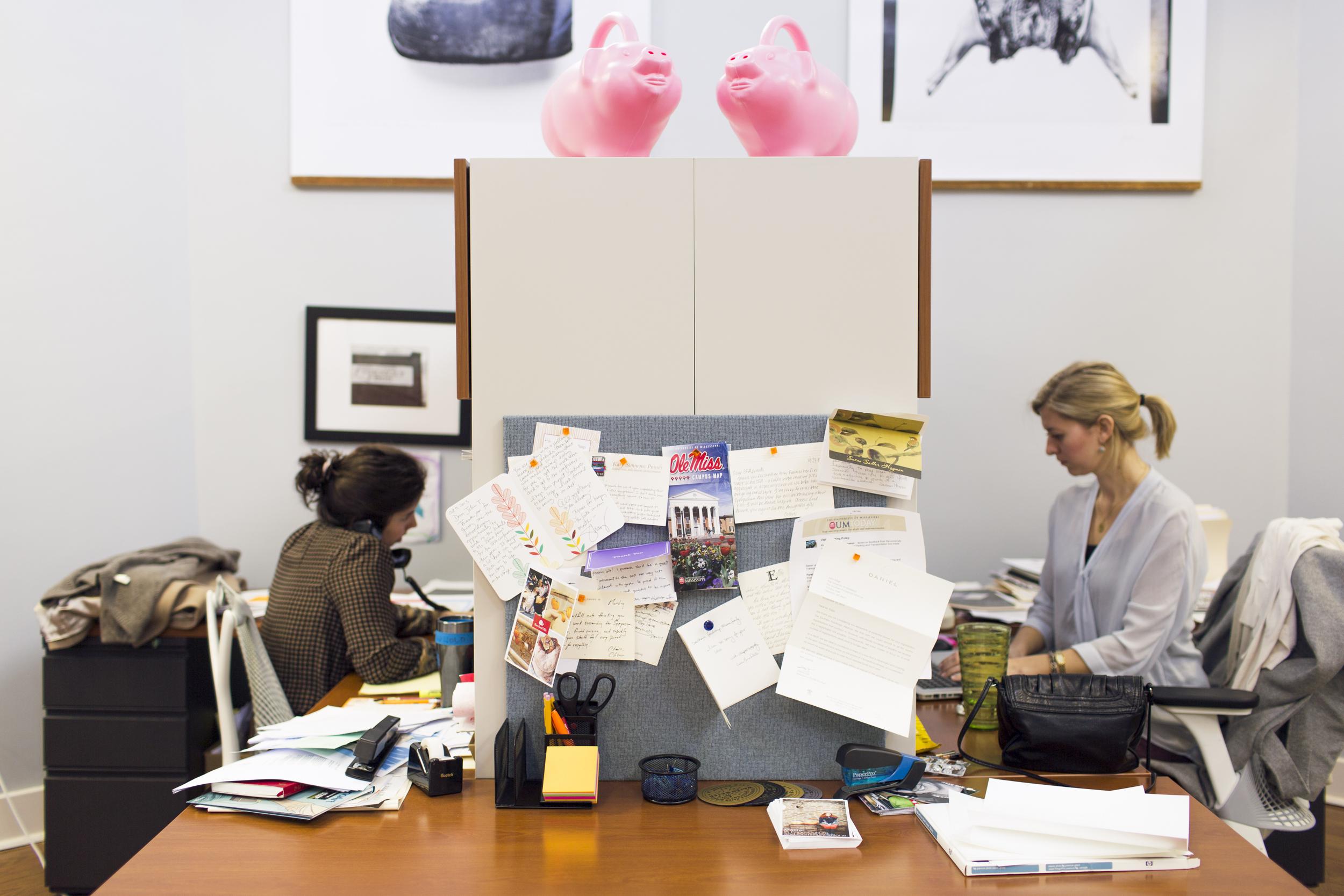 Sara Camp Arnold and Emilie Dayan at work