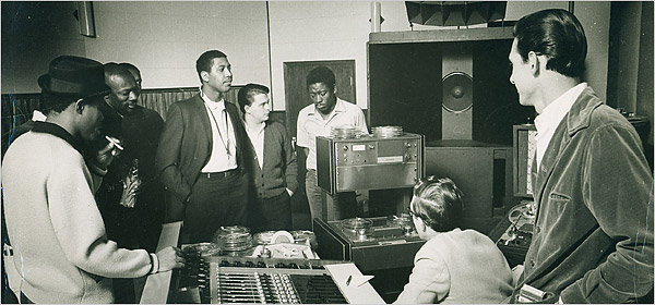 From left, the musicians Sam Moore, Isaac Hayes, Andrew Love, Wayne Jackson, Dave Prater, Jim Stewart and Steve Cropper. Photo from Stax Museum of American Soul Music.