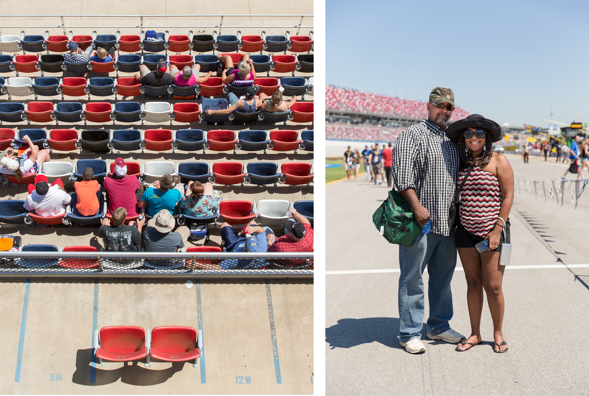 The trackside crowd pre-race, left. Sarah Graves, right.