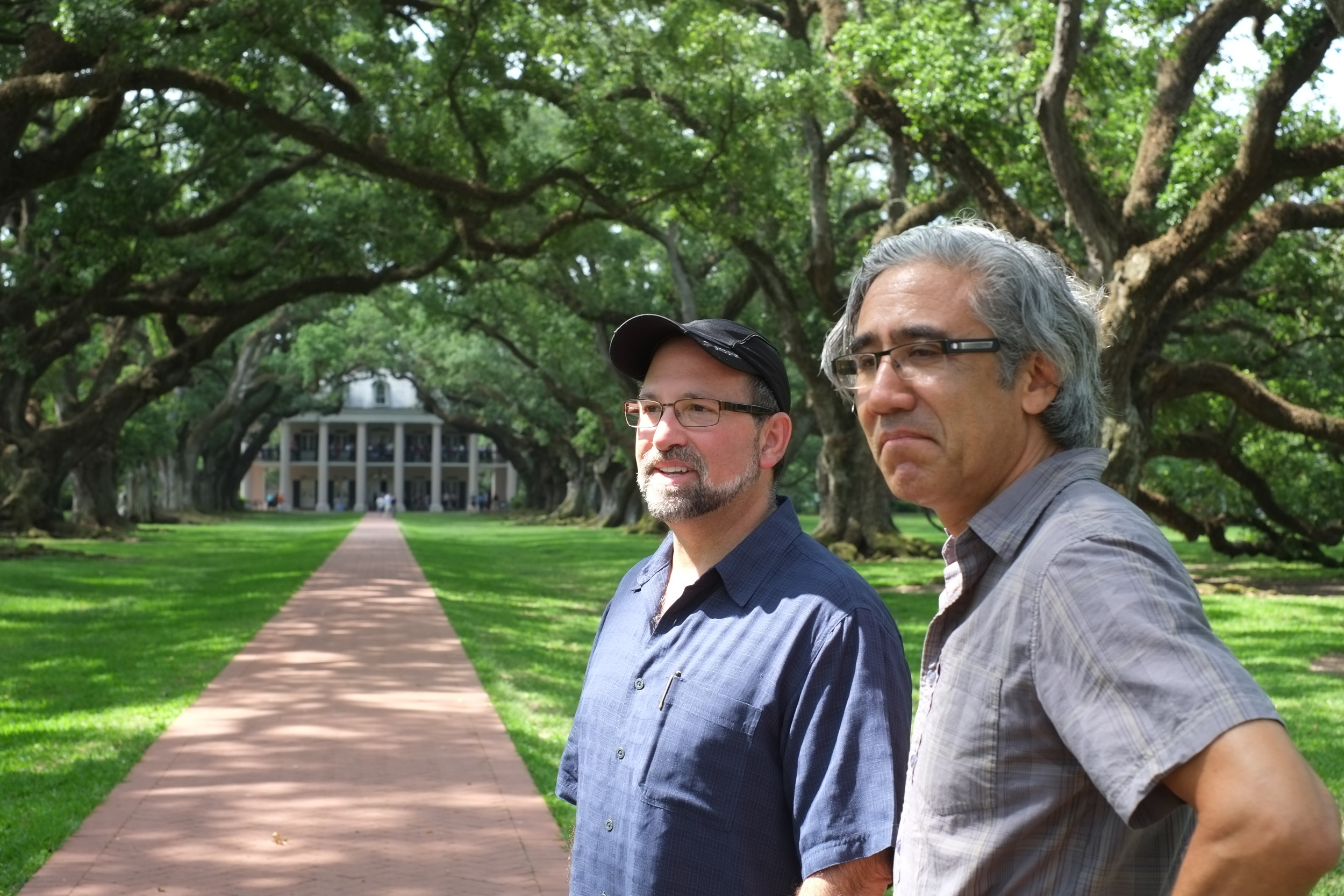 "Producer/Director Gary Leva (left) and Cameraman/Grip Robert Consentino (right) on location at Oak Alley Plantation for ""Old South, New South""  