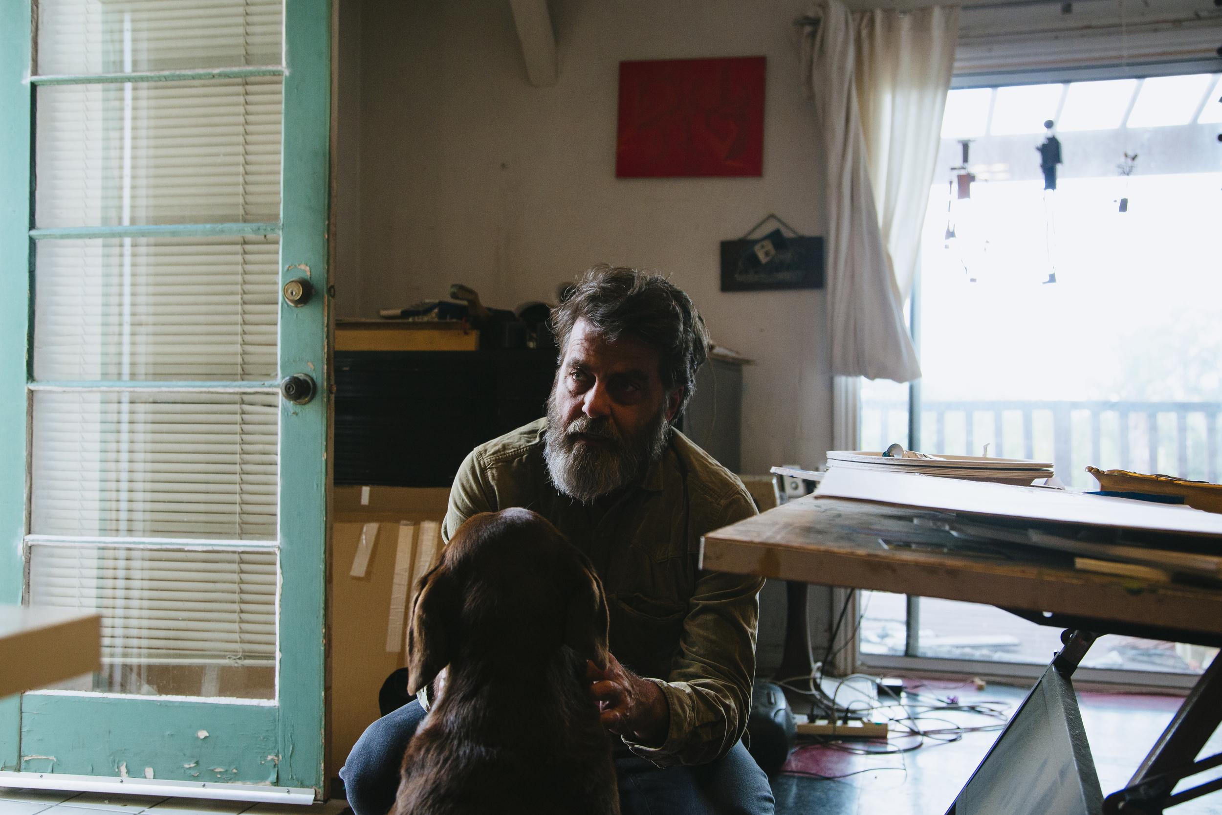 Wayne and his dog, Mabel, in his Los Angeles studio.