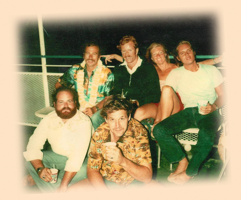 STEVE LAMB (SECOND FROM LEFT, BACK ROW) PARTIES WITH FRIENDS, INCLUDING (BACK ROW AT LEFT) JIMMY BUFFETT
