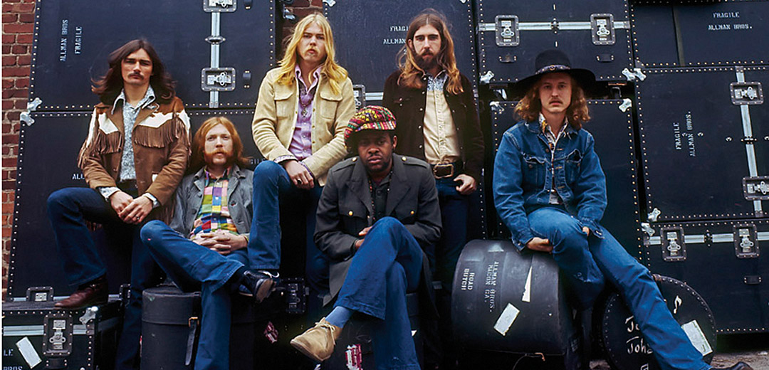 "The ALLMAN BROTHERS BAND, 1969. From left to right, dickey Betts, Duane Allman, Gregg Allman, Jai Johanny JOHANSON (""Jaimoe""), berry oakley, and butch trucks."
