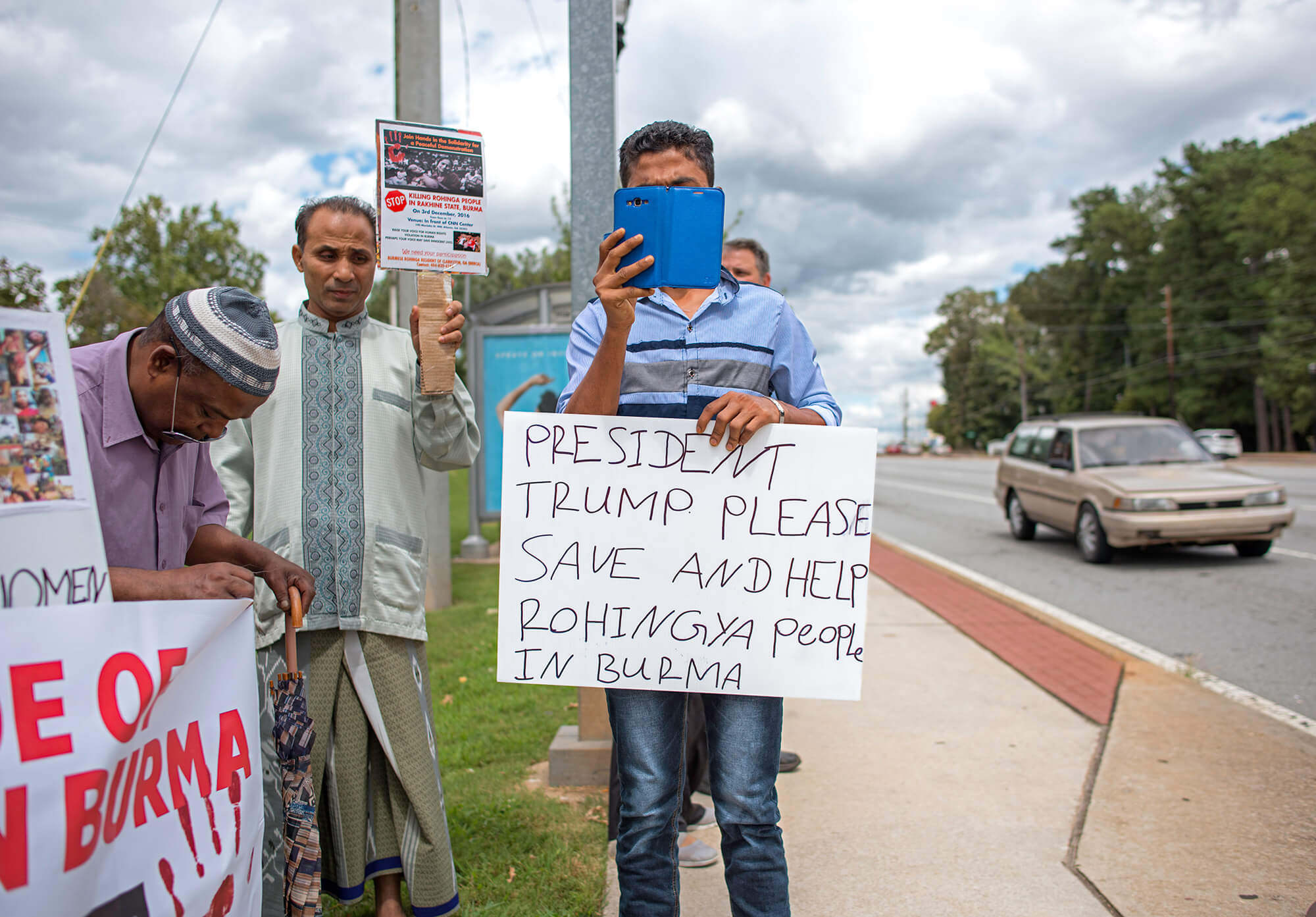Rohingya refugees take part in a rally protesting the genocide of the Rohingya people in Burma. The rally, led by Clarkston Mayor Ted Terry, was held at Memorial Drive Presbyterian Church on September 1, 2017.