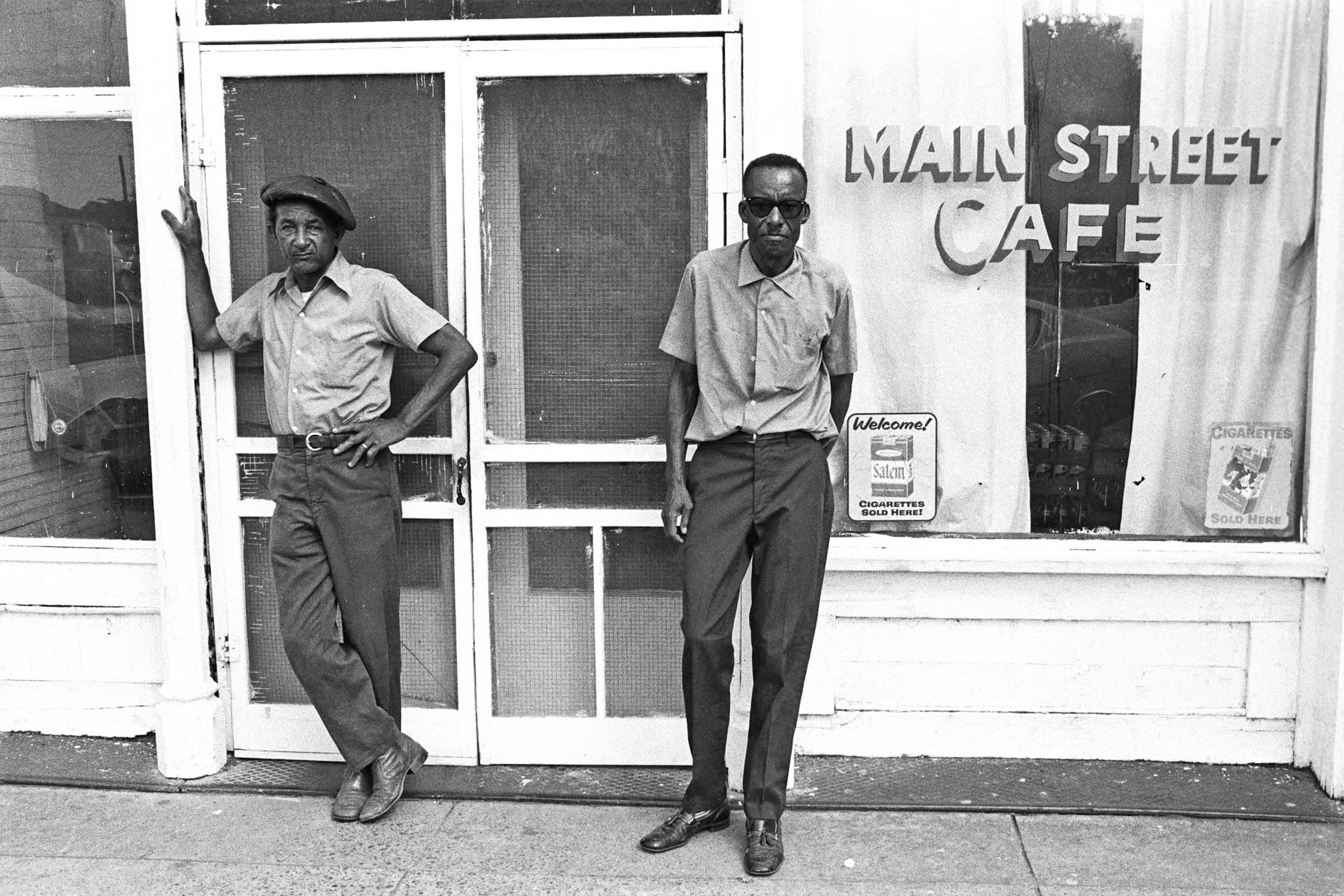 Joe Cooper(l) and James %22Son Ford%22 Thomas(r) at the Main Street Cafe in Leland, Mississippi, 1976..jpg