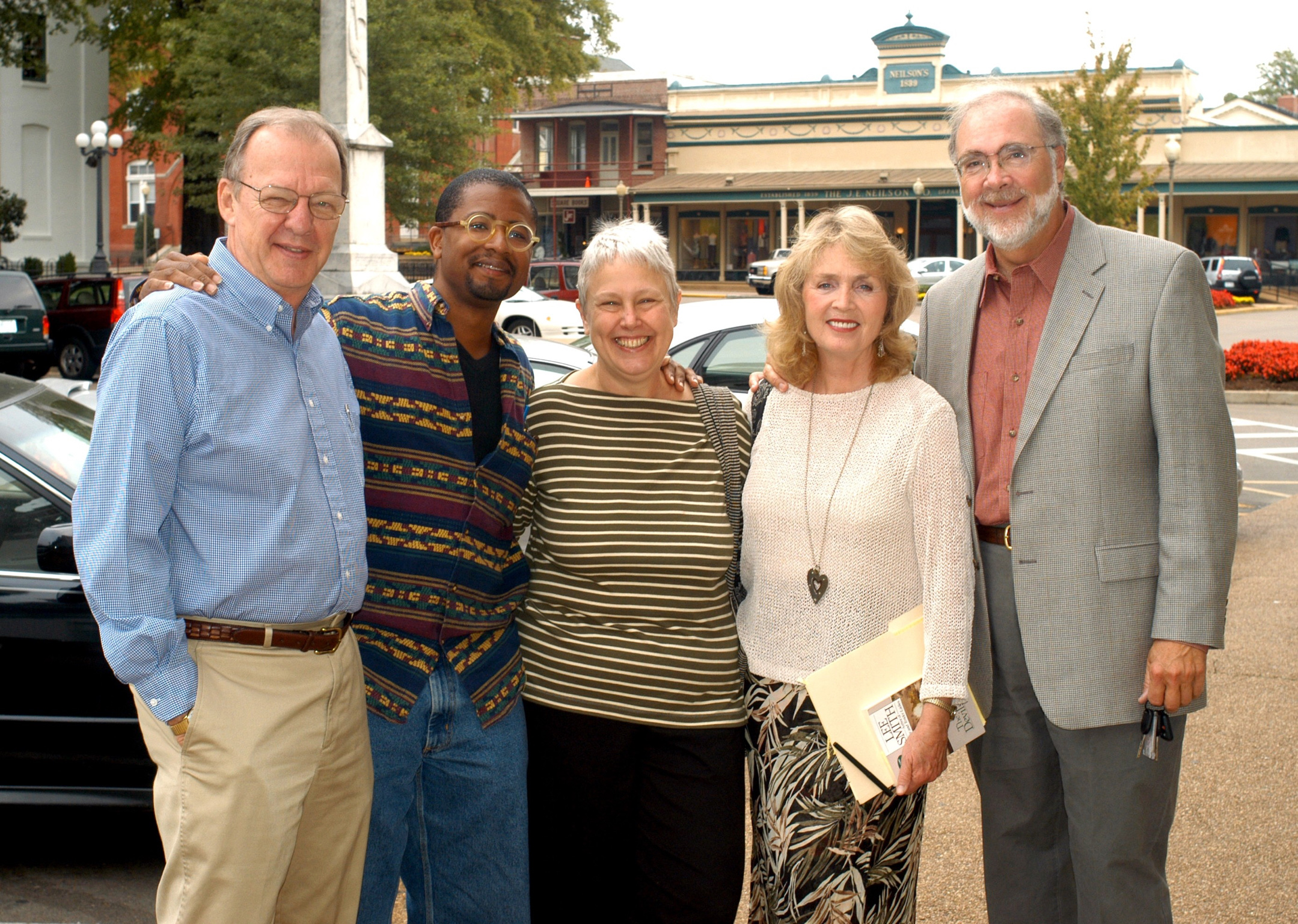 John egerton at the sfa's 2003 fall symposium in oxford, Mississippi, with the writers Lolis Eric Elie,  Ronni Lundy, Lee Smith, and Hal Crowther.