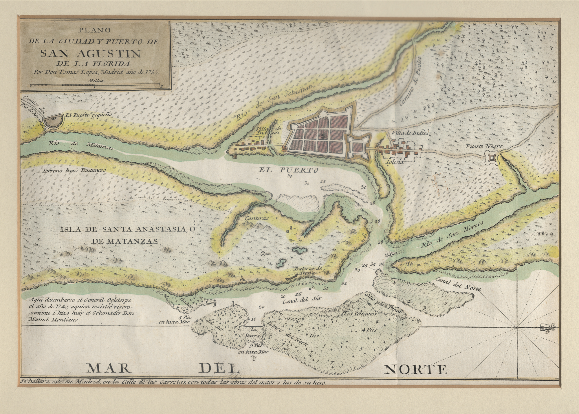 Map of st. augustine and fort mosa, courtesy of the university of florida