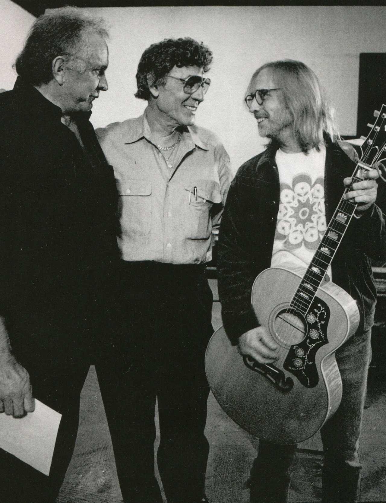 Johnny cash, carl perkins, and tom petty during the  Unchained  sessions.