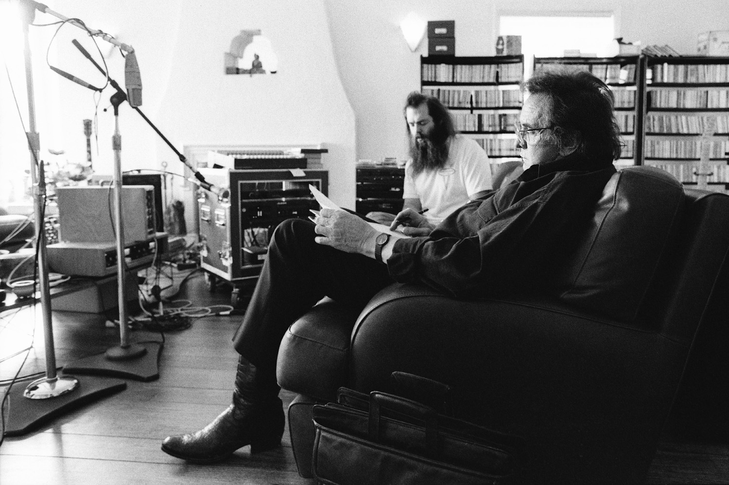 Johnny Cash and Rick Rubin during the American Recordings sessions.