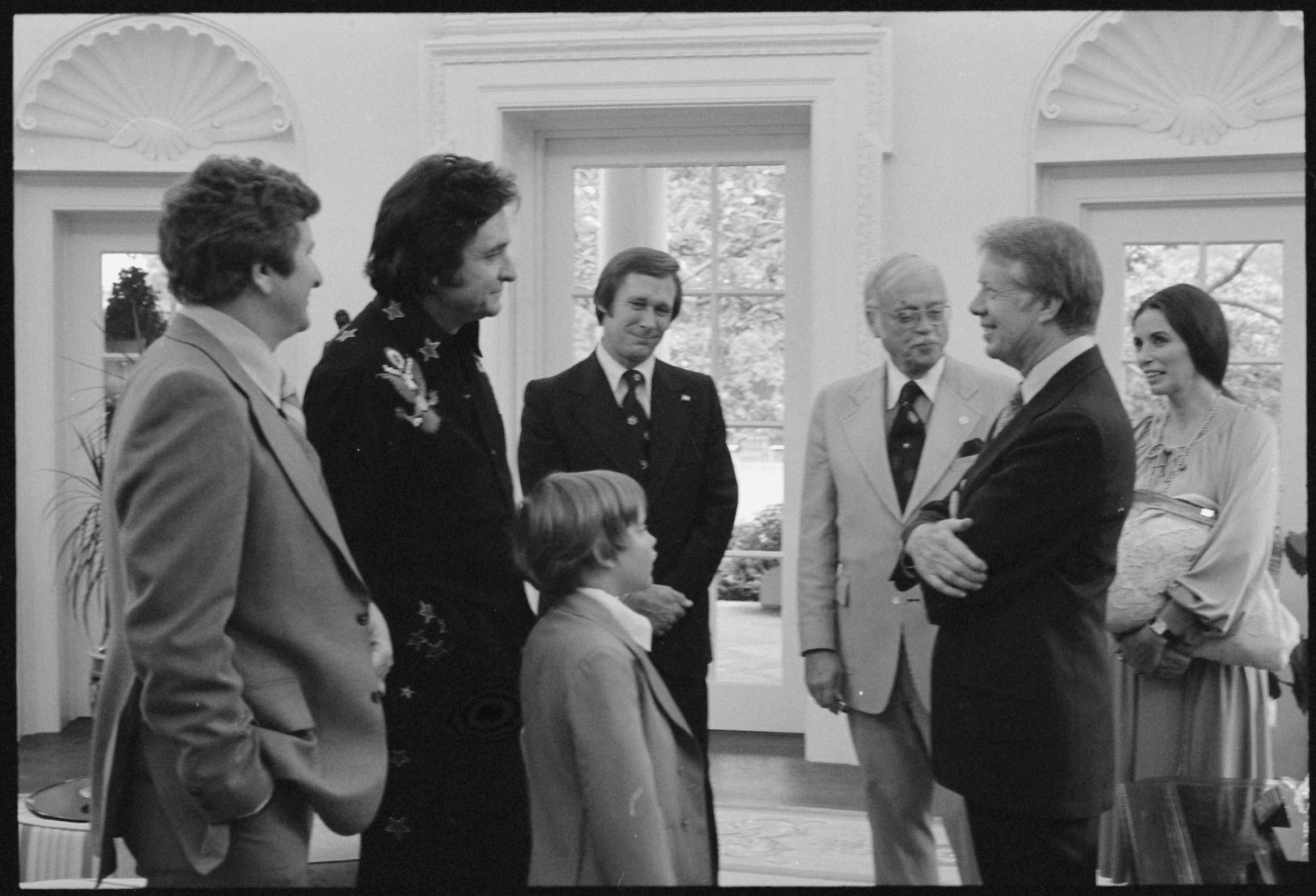 President Jimmy Carter with Johnny Cash and family, June 14, 1977.