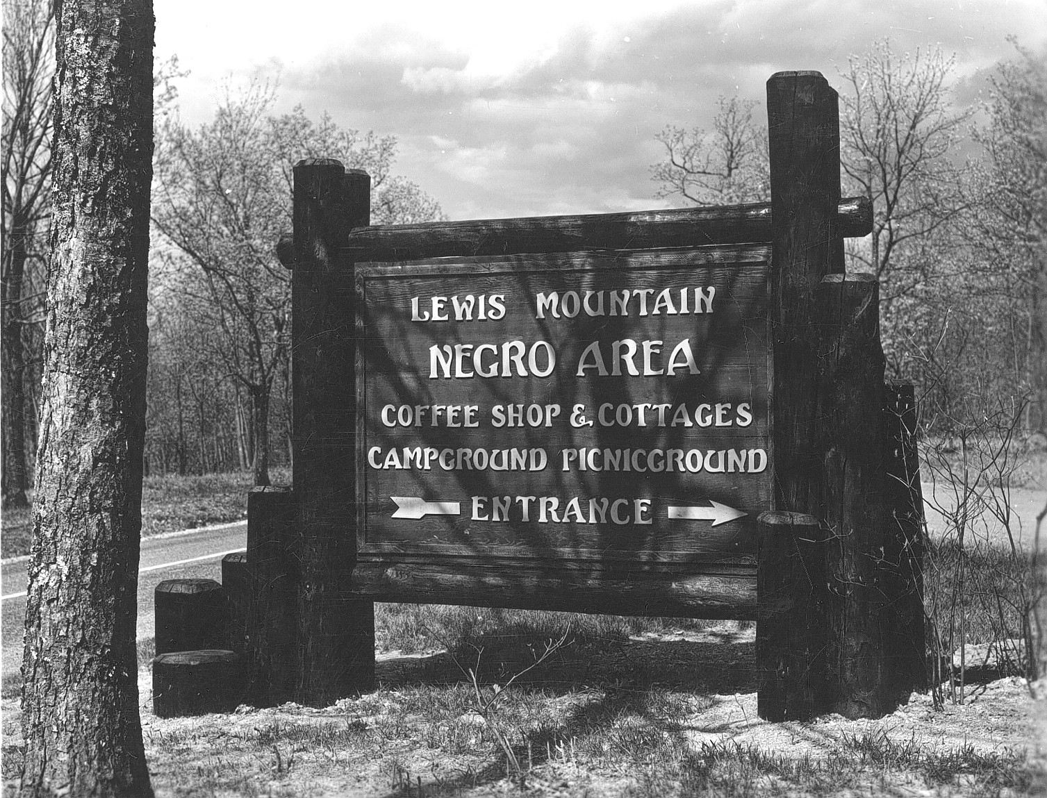 """Separate but equal"" in practice; a separate ""Negro Area"" at Lewis Mountain in Shenandoah National Park"