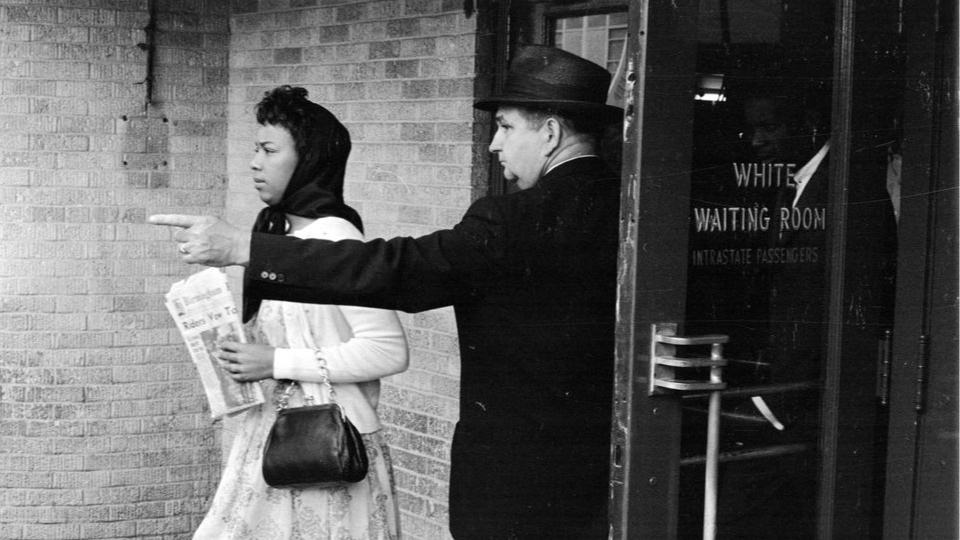 Doris Castle of New Orleans is directed away from the white waiting room at the Jackson, Mississippi, bus station May 25, 1961. Photo by William Lovelace