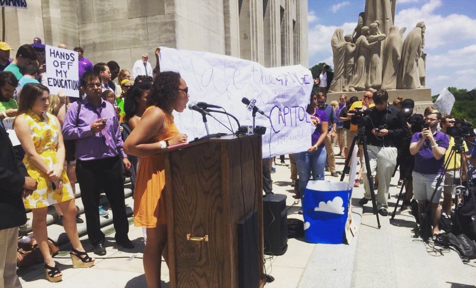 Writer Valencia Richardson speaking at a student demonstration on the LSU campus