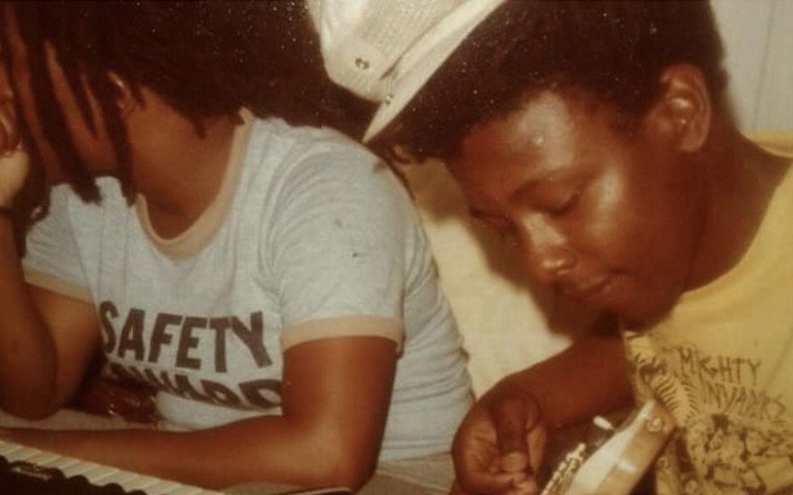 Ichelle and Asher Cole in Jamaica in the 1980s. Ichelle on the keyboard and Asher on the guitar.