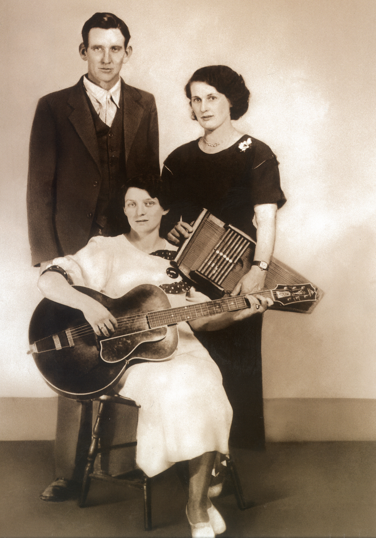 The Original Carter Family, circa 1930. from left: A.P., Maybelle, and Sara Carter. [Courtesy of Carter Family Museum, Rita Forrester]