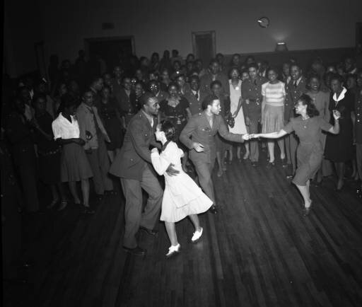 Lindy hopping in Atlanta, Georgia. Probably a United Service Organization (USO) dance, 1943. Photo courtesy of Lane Brothers Commercial Photographers Photographic Collection, Special Collections and Archives, Georgia State University Library.