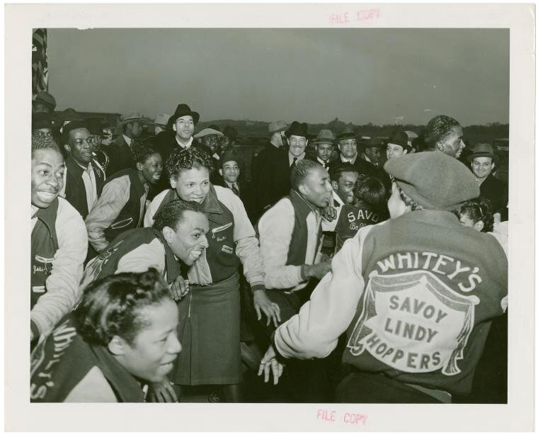 Whitey's Lindy Hoppers, a professional group of swing dancers first organized in the late 1920s by Herbert White, the bouncer at the Savoy Ballroom in New York. Courtesy: New York Public Library