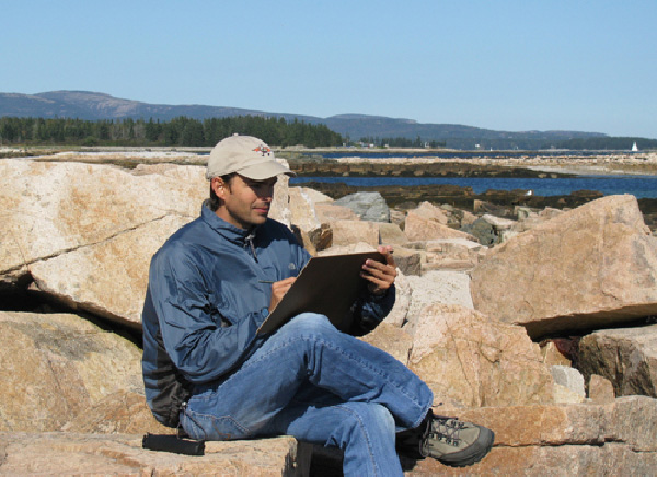 Abraxas sketching on location in Acadia National Park.