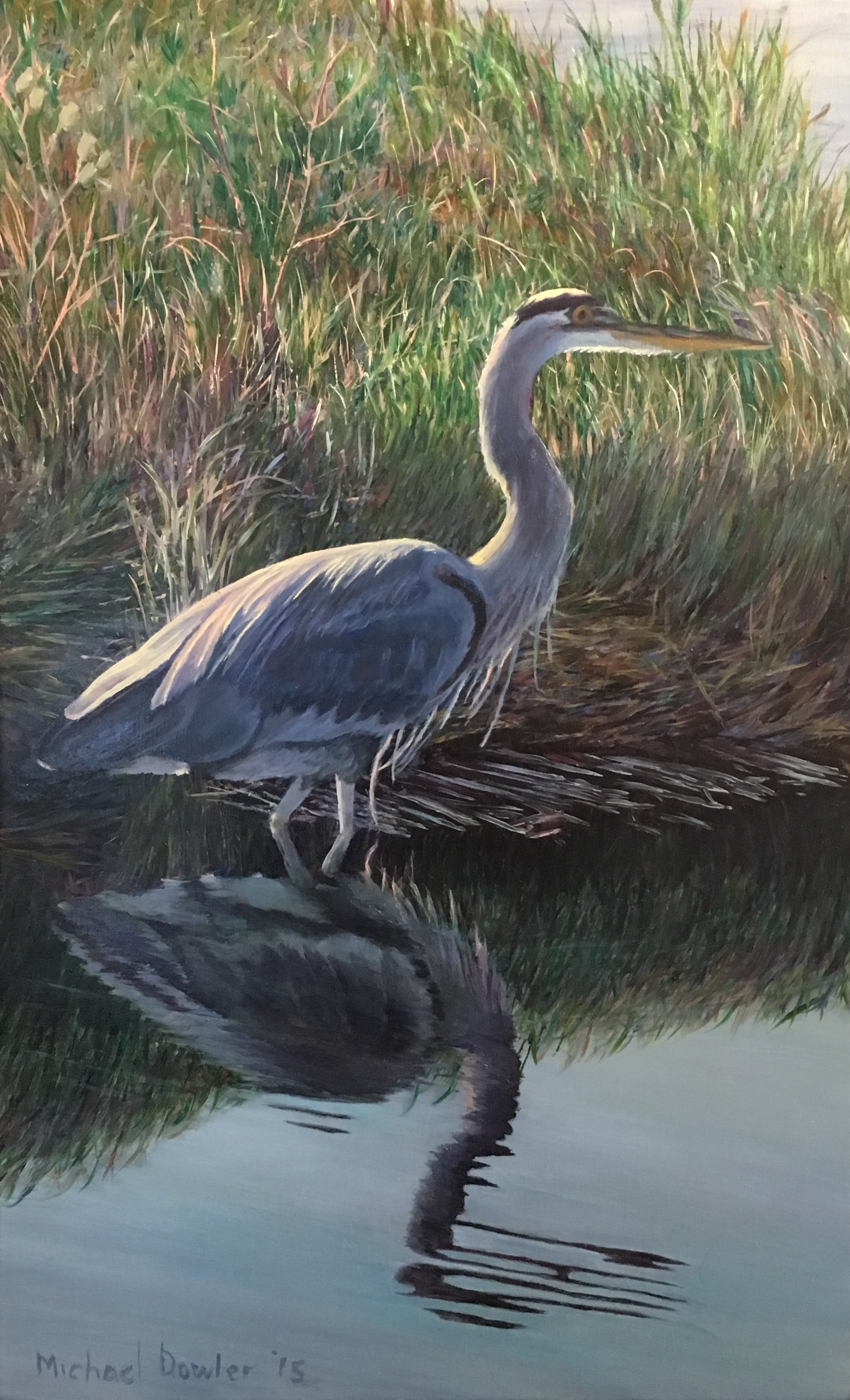 A Blue Heron walks quietly through Mike Dowler's final class painting - he had never painted before!