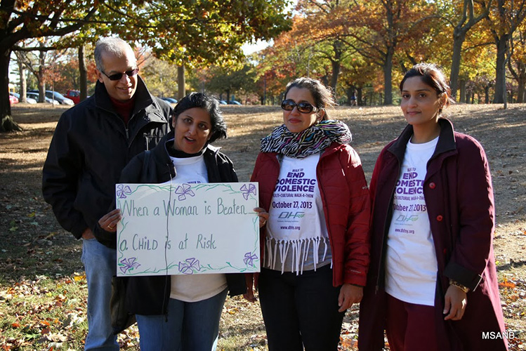 At a walk against domestic violence with the Domestic Harmony Foundation in New York.