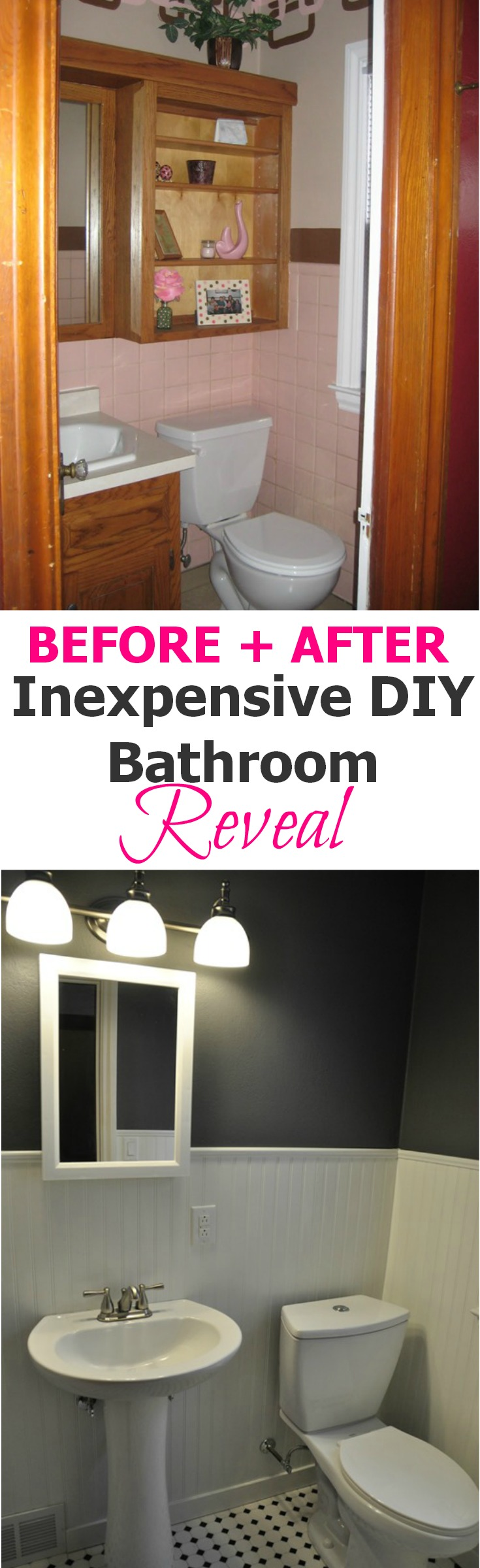 Inexpensive DIY Bathroom Reveal