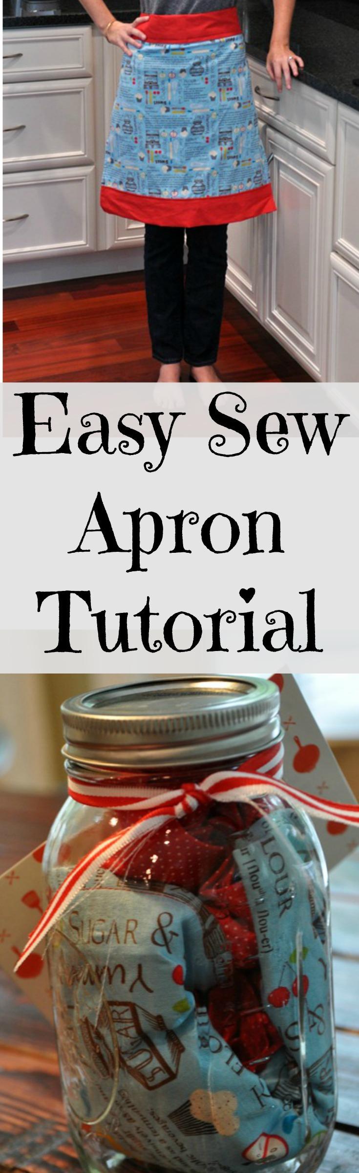 Easy Sew Apron Tutorial.  Gift it in a Mason jar!.jpg