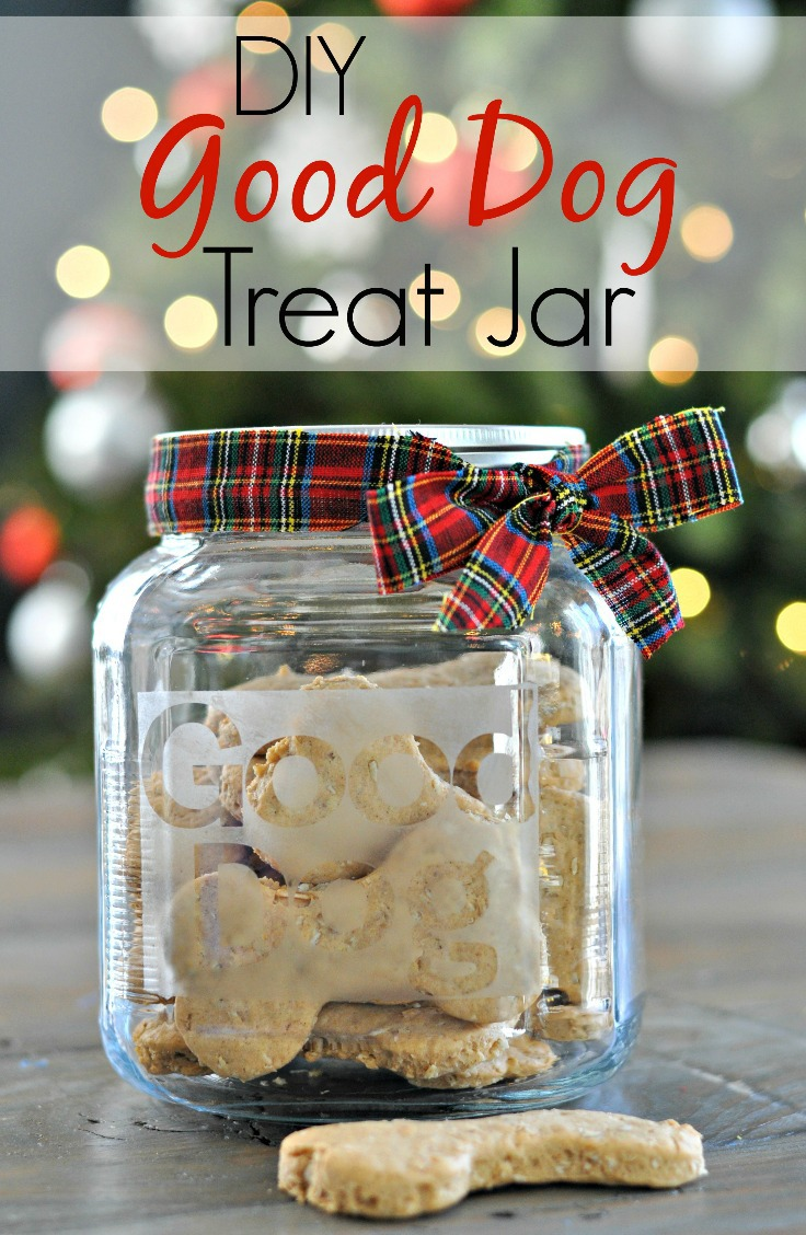 DIY Good Dog Treat Jar.  Easy and inexpensive gift for your furry friends!