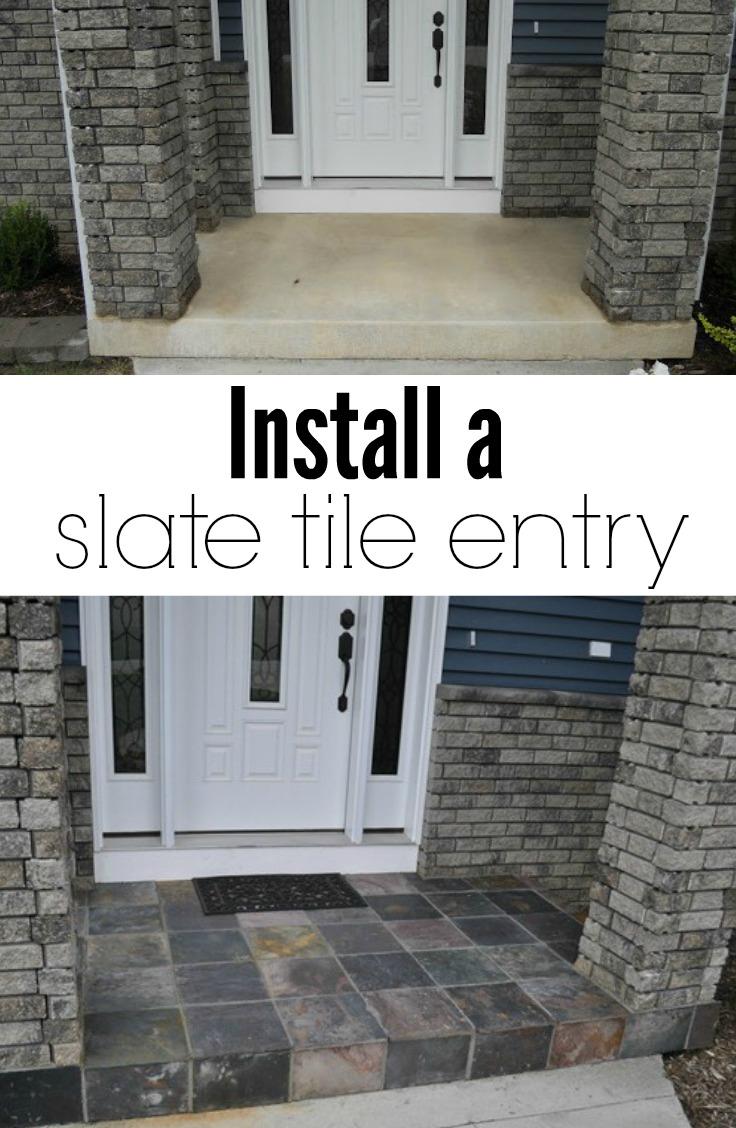 Slate Tile Porch Decor And The Dog
