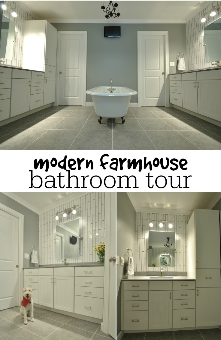 Modern Farmhouse Bathroom Tour.  Great before and afters!